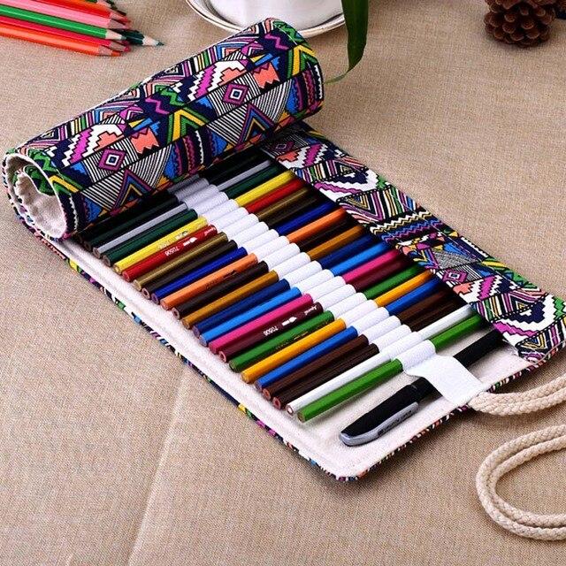 Новый 36/48/72 Отверстия Холст Wrap Roll Up Карандаш Сумка Pen Дело Держатель Чехол Для Хранения E2shopping