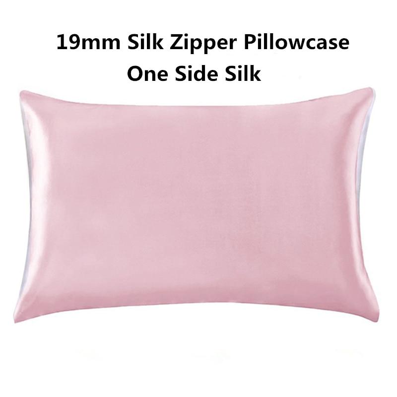 19mm Silk Zipper Pillowcase 1pc One Side Silk 100% Mulberry Pillow Case with Hidden Zipper for Hair and Skin Hypoallergenic