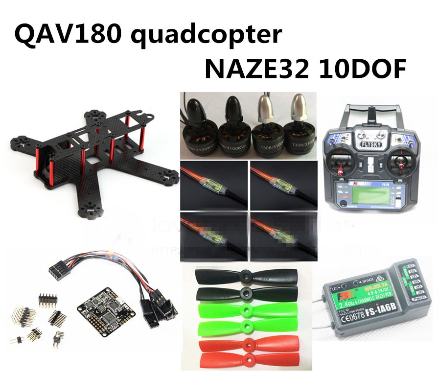 DIY FPV QAV180 RC cross race quadcopter mini drone kit & RTF NAZE32 10DOF + 1306 3100KV + BL 6A ESC + FLYSKY FS-i6 + iA6B