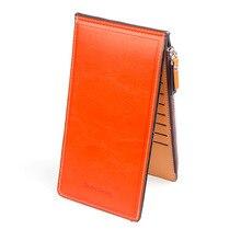 RUIPAI Card bag ladies wallet oil wax leather multi-function card folder female thin pu mobile phone double folding clutch bag