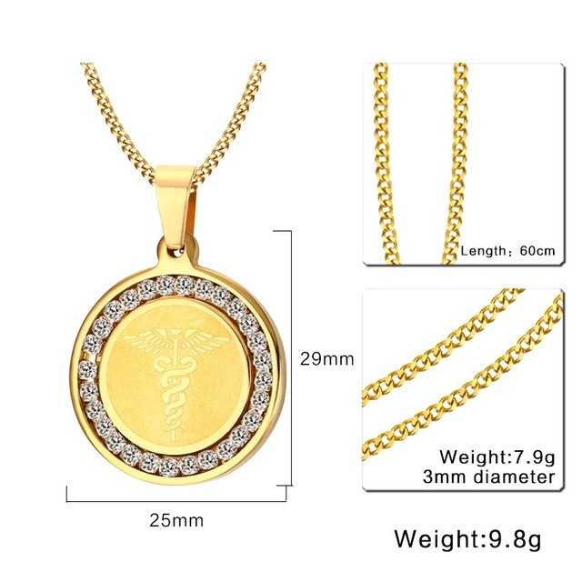 Engraved Medical Alert ID Necklace Pendant Surgical Steel CZ Stone 2