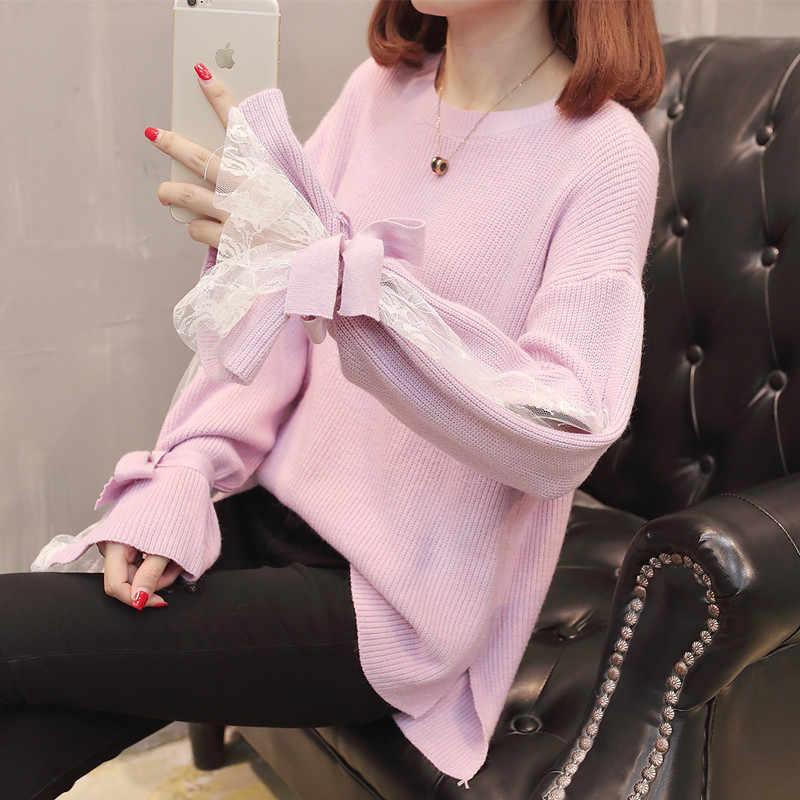 새로운 여성의 가을과 겨울 스웨터 여성 느슨한 2019 레이스 섹시한 니트 스웨터 pullovers 긴 소매 점퍼 당겨 femme l41