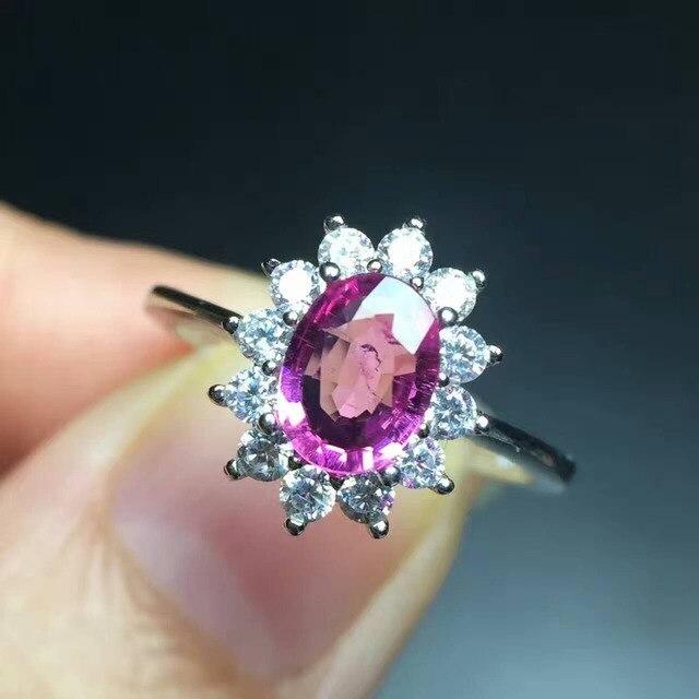 7e7d7ea8d554 Natural rojo turmalina Anillo joya anillo de piedra Natural 925 de plata  esterlina de moda elegante