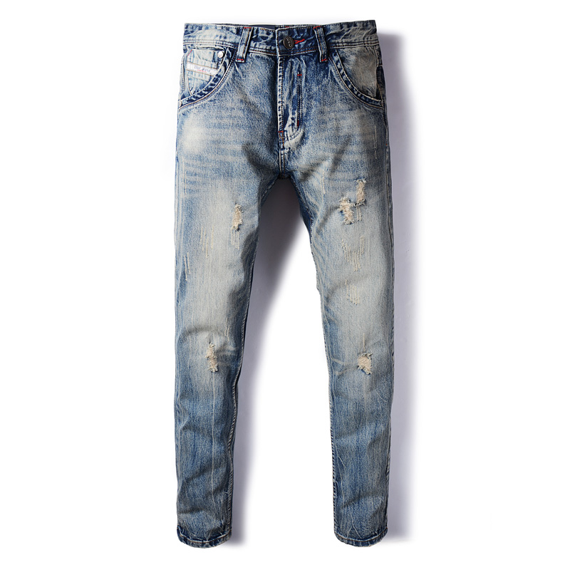 Italian Style Fashion Mens Jeans Vintage Retro Denim Ripped Jeans For Men DSEL Brand Slim Fit Destroyed Biker Jeans Size 29-40