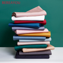 1pcs 60S Cotton Bed Sheets Solid Color Soft Flat Sheet White Pink Blue Ben Linen For Single Double Children Adults