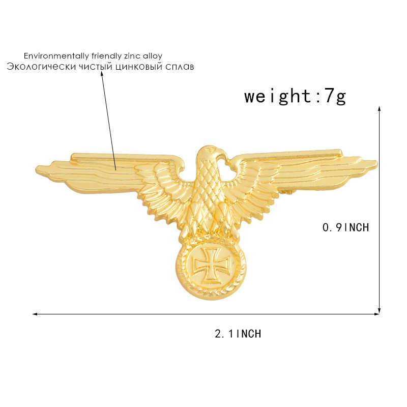 Wwii WW2 Duitse Militaire Cross Eagle Pin Cap Badge Kokarde Sieraden Broches Denim Shirt Kraag Badge Reversspeldjes Vrienden Geschenken