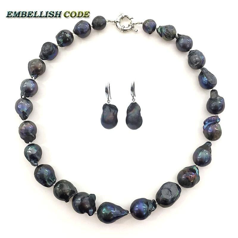 Mode noir couleur collier ras du cou crochet dangle boucles d'oreilles ensemble grand baroque nucléé flamme boule forme naturelle perle d'eau douce