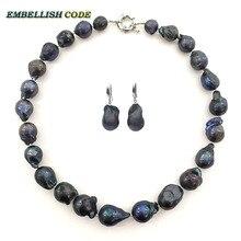 Moda negro color choker collar gancho cuelga los pendientes grandes del conjunto nucleados barroco bola de fuego forma perlas de agua dulce naturales