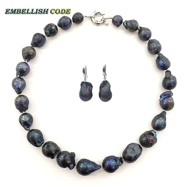 fashion black color choker necklace hook dangle earrings set big baroque nucleated flame ball shape natural Freshwater pearl