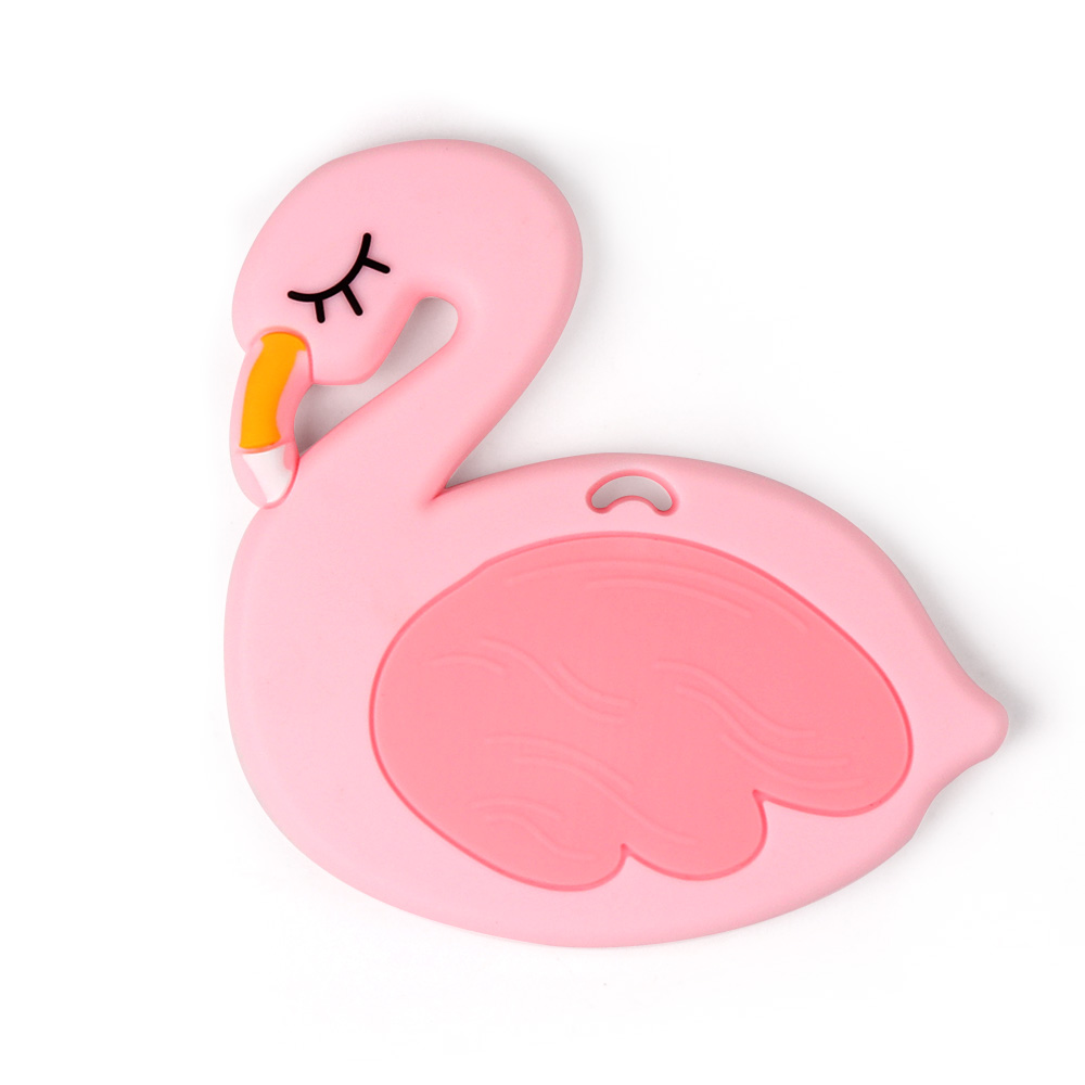 TYRY.HU 1pc Flamingo Silicone Teether Baby Teething Pendant For DIY Rattle Toys Pacifier Clips Accessories BPA FREE 90*90mm
