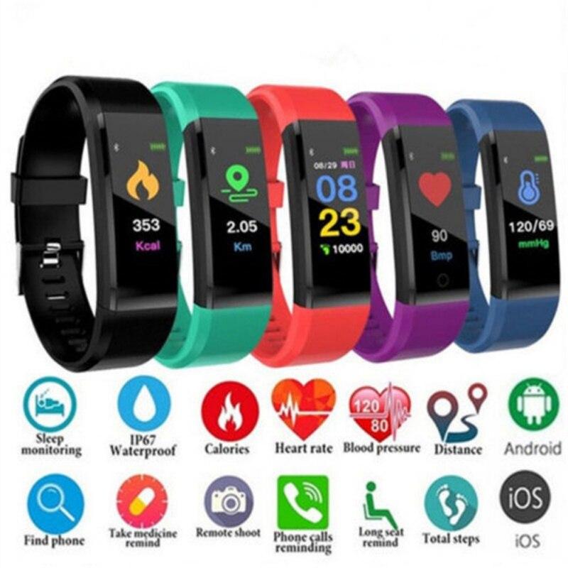 Android 5.0 Inteligente Pulseira Pulseira Grande Tela de Toque de Fitness medida Sangue Mensagem Passometer Sono Monitoramento Smartband