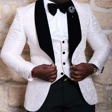Tuxedos Blazer Groom Wedding-Best Suits Jacket Man Lapel Vest Pants Shawl Tie Men White/black