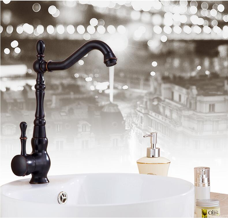 Europe Retro Oil Rubbed Black Bronze Swivel Singe Handle Bathroom Basin Kitchen Deck Mounted Sink Mixer Tap Kitchen Faucet allen roth brinkley handsome oil rubbed bronze metal toothbrush holder