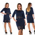 Элегантный Sexy 2 шт. набор лето женщины платья большой размер НОВЫЙ 2016 плюс размер женщин одежда L-4XL платье о-образным вырезом bodycon Платье W017