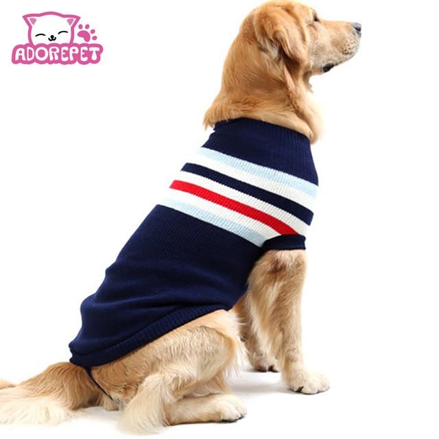 Cute Strip Pet Dog Cat Crochet Knit Sweater Clothing Big Large Dog