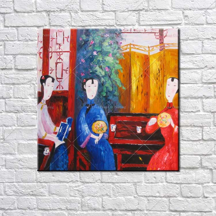 Palette Knife Chinese Girl Abstract Decorative Hand painted Mural Paintings Chinese Traditional Knife Wall Oil Painting Canvas