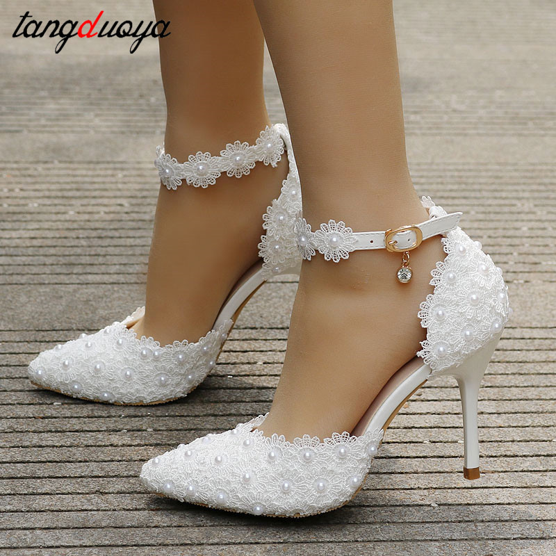 pumps <font><b>women</b></font> shoes ankle strap rhinestone high <font><b>heels</b></font> shoes <font><b>women</b></font> wedding shoes lace flowers high <font><b>heel</b></font> stiletto pumps shoes white image