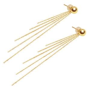 Image 1 - Classic Minimalist Ball 18K Gold bead Tassel Stud Earring for women girls Diameter 3 4 5mm optional real Au 750 stud earring