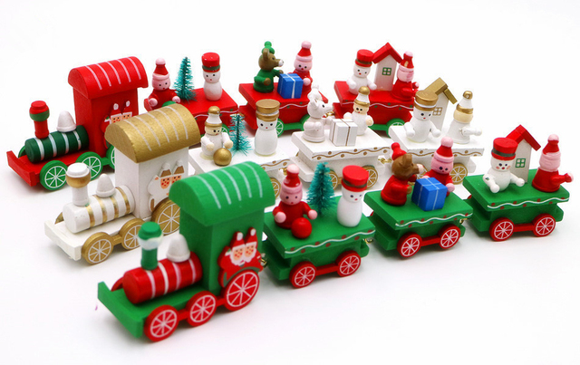 cikoo wooden christmas xmas train decoration decor gift mini christmas train wooden train model vehicle toys