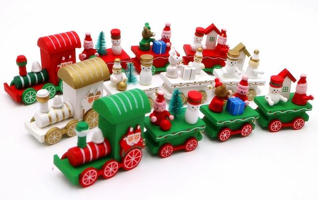 cikoo wooden christmas xmas train decoration decor gift mini christmas train wooden train model vehicle toys