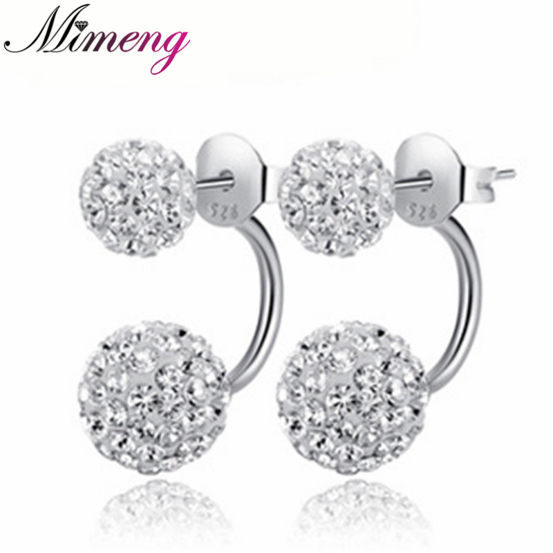 100 925 Sterling Silver Jewelry Full of Flash Stone Earrings Sterling Silver Stud Earrings Christmas Gift