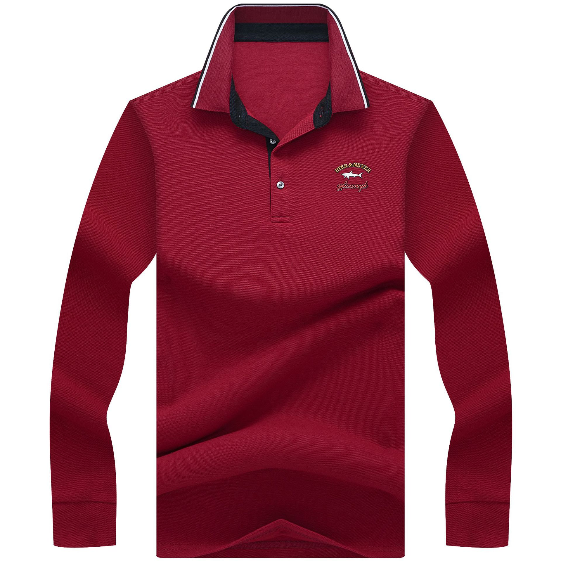 Designer Mens   Polo   Shirts Long Sleeve Autumn Fashion Embroidery Solid Top Cotton Male Casual Shirt Men   Polo   Tees M-3XL AF8841