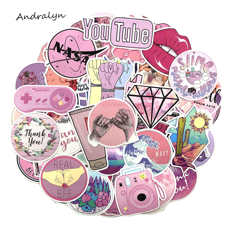 100Pcs/pack Pink Style Graffiti Stickers Cartoon Stickers For Luggage Motorcycle Laptop Skateboard  Adesivos Phone For Girl