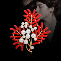 Fashion Show Classic Redwood Pearl Brooch Pins Chinese Lucky Cedar Brooches For Women Mother Broches Scarf