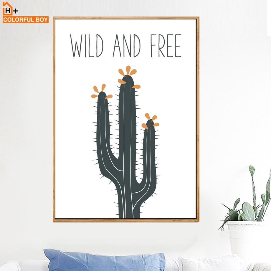 Cartoon Green Cactus Plant Wall Art Canvas  1