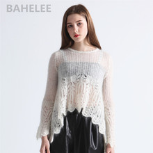 BAHTLEE Spring Autumn Womens Mohair Pullovers O Neck Hollowing Out Sweater Knitted Long Sleeves Wool Jumper Lazy Style