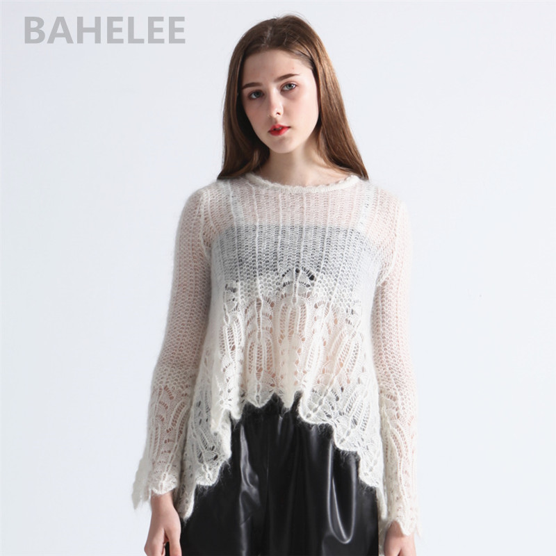 BAHTLEE Spring Autumn Women's Mohair Pullovers O-neck Hollowing Out Sweater Knitted Long Sleeves Sleeves Wool Jumper Lazy Style