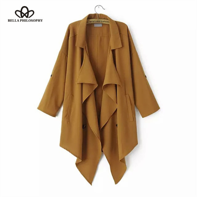 fall spring new European fashion chiffon double breasted asymmetric trench coat women's coat 3 colors