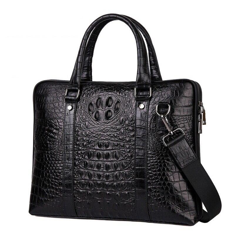 Noir Sac Classique Hommes Vintage Cuir Designer Messager Décontracté Crocodile 2019 D'affaires De En Main Cabas Luxe Véritable À 0Bfxdd