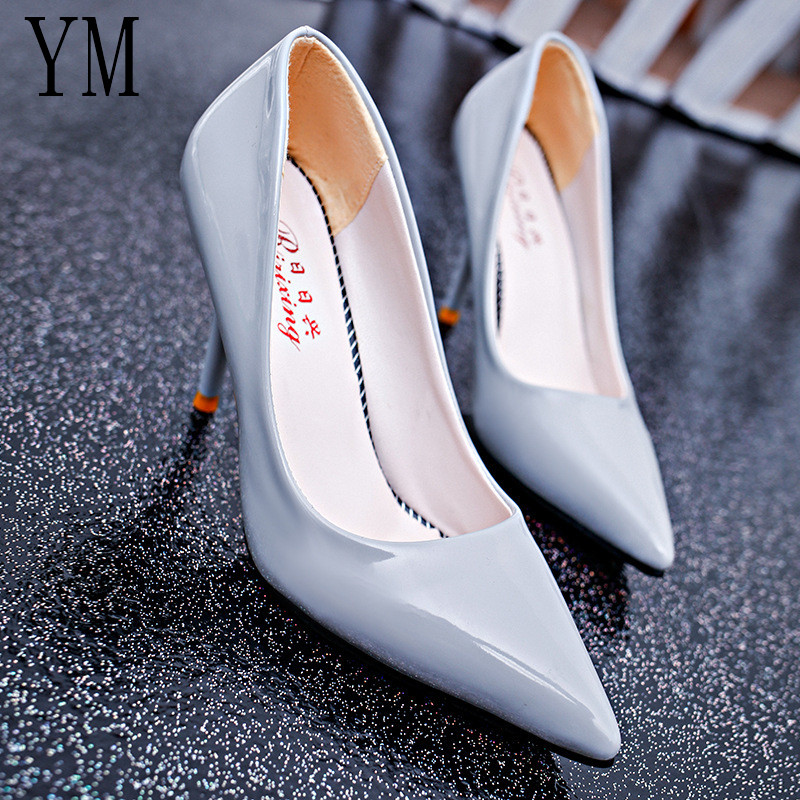 2019 New Fashion High Heels Women Pumps Thin Heel Classic Shallow Red NUde Beige Sexy Prom Wedding Shoes Blue Red Wine