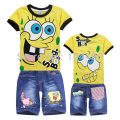new spongebob 2015 new boys clothing set boys t-shirt pant cartoon outfit suit toddler baby kids clothes set