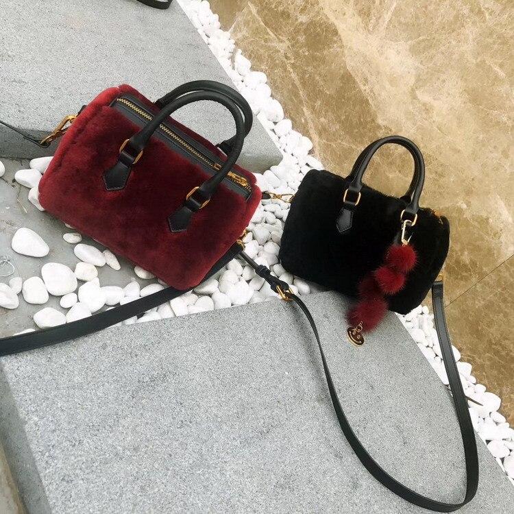 Мини сумка новая кожаная сумка на молнии женская осенняя и зимняя меховая сумка из овечьей шерсти Бостонская сумка кожаная сумка - 3