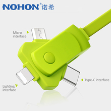 NOHON 3 in 1 USB Charger Cable Lighting For iPhone XS MAX XR Adjustable Android Micro Type C Xiaomi Huawei Charging Line