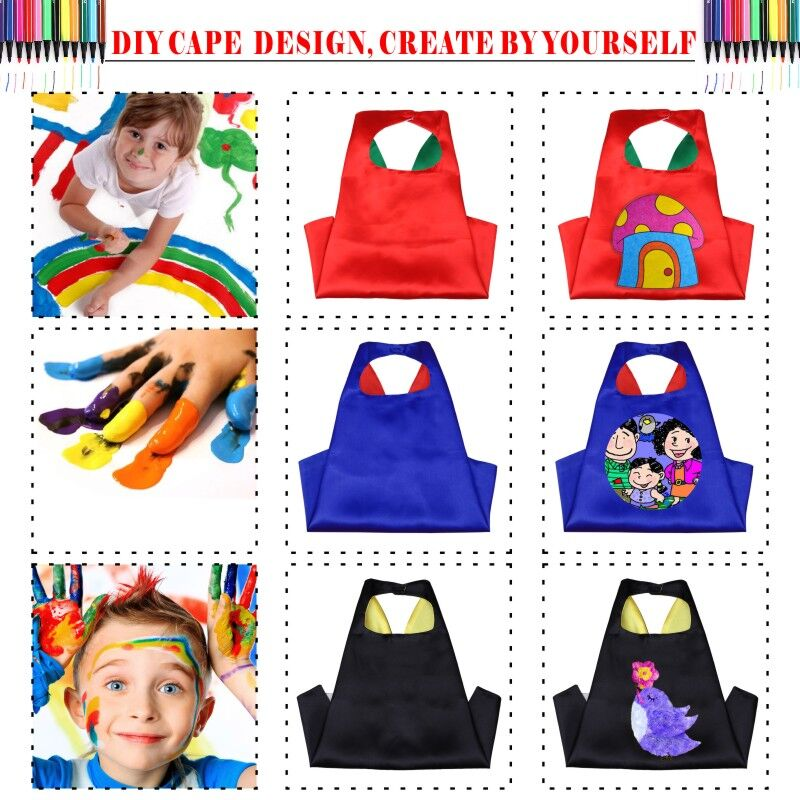 Image 3 - 50 Kids Superhero capes   Double sides Satin Fabric super hero cape + mask party supplies for Children's birthday party cosplay