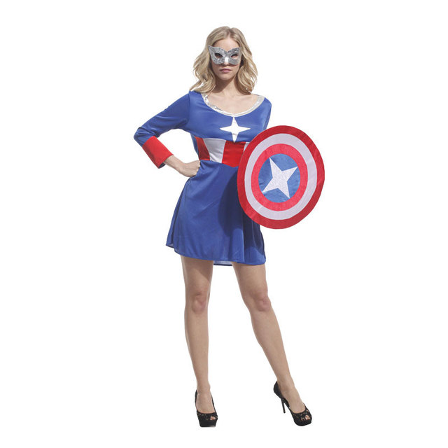 Halloween Costumes Adult Woman Super Hero Captain America Costume Dress  With Shield Cosplay Clothes For Women