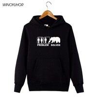 Funny Problem Solved Hoodies Men Winter Hip Hop Streetwear Grizzly Bear Printed Long Sleeve Tops Sweatshirts Camisetas