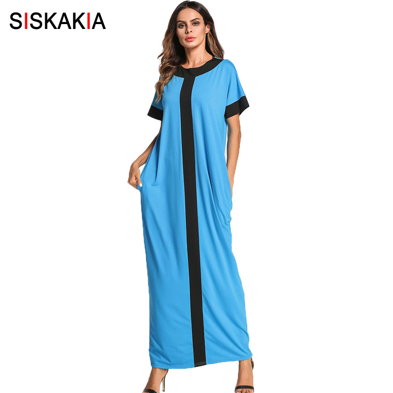 US $20.15 40% OFF|Siskakia muslim Dubai kaftan maxi long dress fashion  contrast color urban casual t shirt dresses summer 2018 plus size dress-in  ...