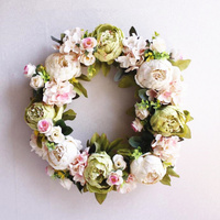 High Quality Silk Peony Artificial Flowers Wreaths Door Fake Garland For DIY Wedding Decoration Home Party