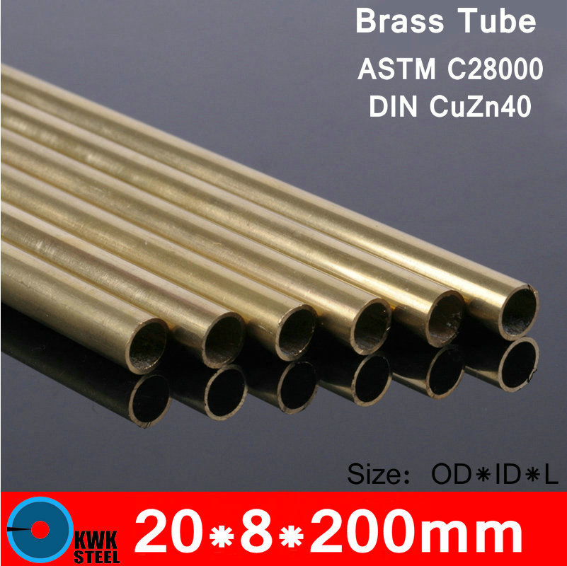 20*8*200mm OD*ID*Length Brass Seamless Pipe Tube of ASTM C28000 CuZn40 CZ109 C2800 H59 Hollow Bar ISO Certified Free Shipping 5pcs 304 stainless steel capillary tube 3mm od 2mm id 250mm length silver for hardware accessories