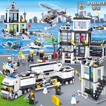 536pcs Police Station Building Blocks Prison Figures Compatible Legoing City Enlighten Bricks Toy Truck Helicopter For Kid Gifts