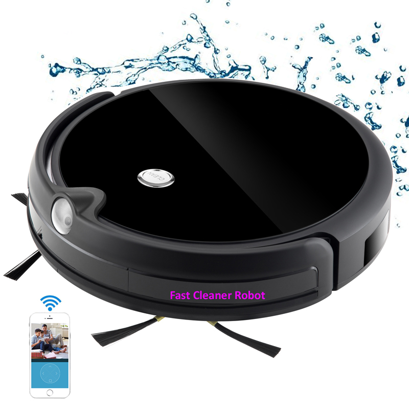 Camera Video Monitor Robot Vacuum Cleaner Wet and Dry Cleaning With Map Navigation, WiFi App Control,Smart Memory,Water Tank цена и фото