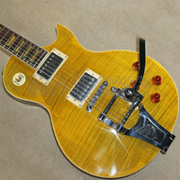 Chinese Guitar LP Electric Guitars Yellow Color Body Vibratone Tremolo Lp Musical Instruments Flame Maple Top