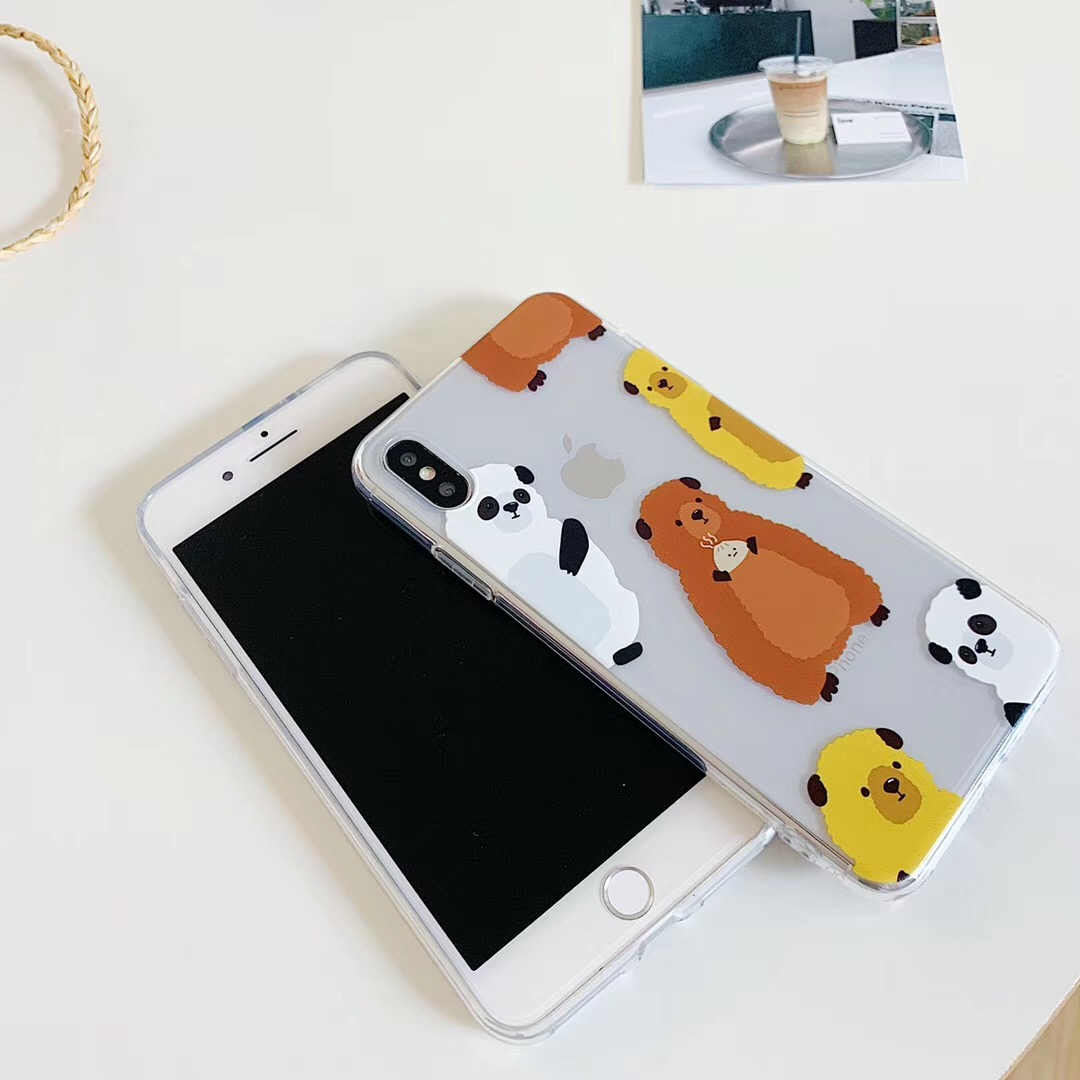 INS Korea cute animal vintage bear phone case For iPhone Xs MAX XR X 6 6s 7 8 plus funny couple clear soft TPU back Cover Fundas in Fitted Cases from Cellphones Telecommunications