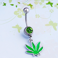 60 Pcs Lot Sexy Rhinestone Ball Green Leaf Medical Stainless Steel Piercing Belly Button Rings Body