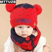 New Arrival Children Fashion LOVELY Embroidery Hat And Scarf Set Baby Girls Boys Warm Knitted Hats