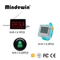 Ресторан очереди Беспроводной система вызова 1 шт. LED Дисплей Панель M-R-1 + 2 шт. часы пейджер M-W-1 + 20 шт. Кнопка вызова M-K-1